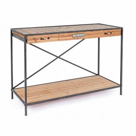 Consola de exhibición en madera de pino y vidrio, estilo industrial - Frigerio