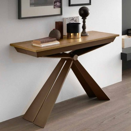 Consola de mesa en madera y metal extensible hasta 295 cm Made in Italy - Timedio