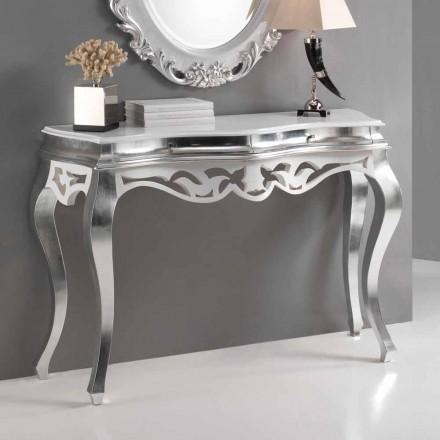 Consola de madera de estilo clásico, acabado en plata y blanco Creta