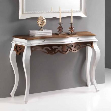 estilo clásico consola de madera, acabado en blanco antiguo y nogal Creti