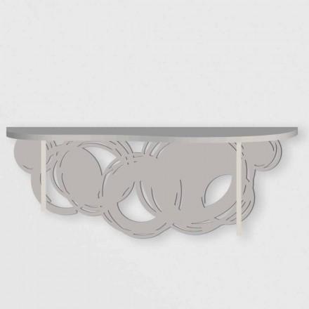 Consola de diseño moderno en arena y madera beige para montaje en pared - Orbit