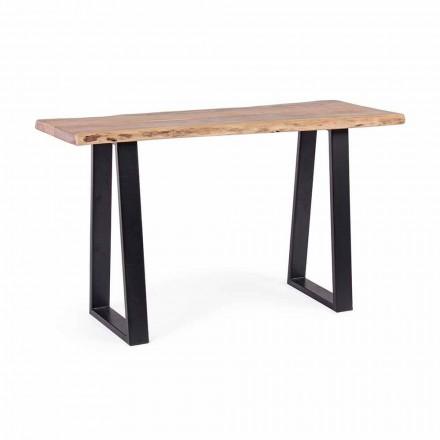 Consola moderna en madera de acacia y diseño de acero Homemotion - Teresanna
