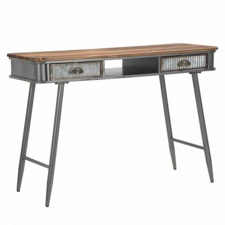 Consola rectangular en hierro y madera Diseño industrial - Ermo