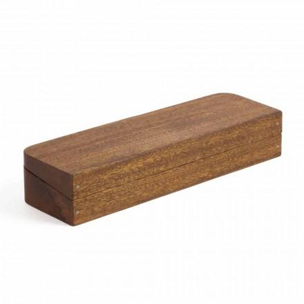 Contenedor de escritorio en madera de caoba con 3 compartimentos Made in Italy - Nitro