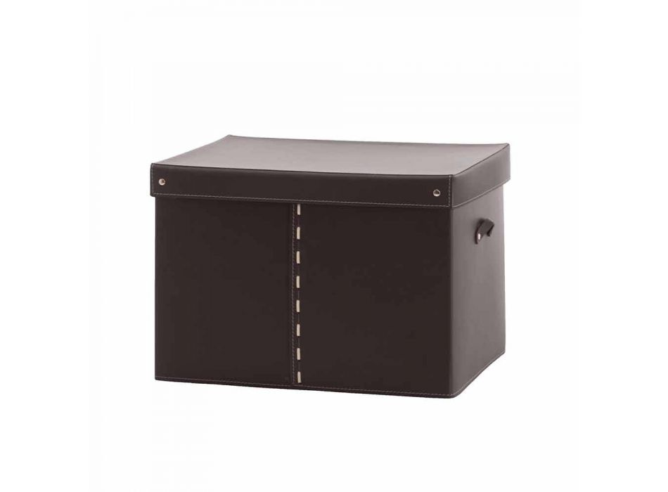 Caja de almacenamiento moderna en cuero regenerado Made in Italy - Gabry