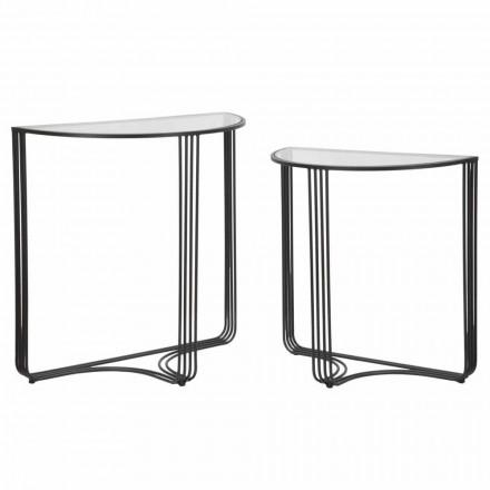 Par de consolas de diseño moderno en hierro y vidrio - Ferdie