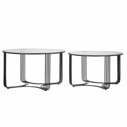 Par de mesas de centro bajas redondas modernas en vidrio y hierro - Mirna