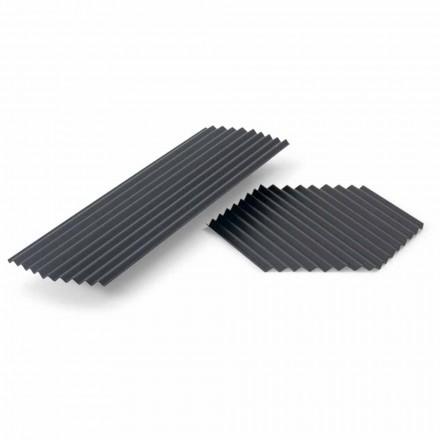Par de bandejas en acero lacado negro o dorado de diseño moderno - Savona