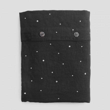 Funda nórdica de lino negro con cama doble de lujo con cristales - Damante