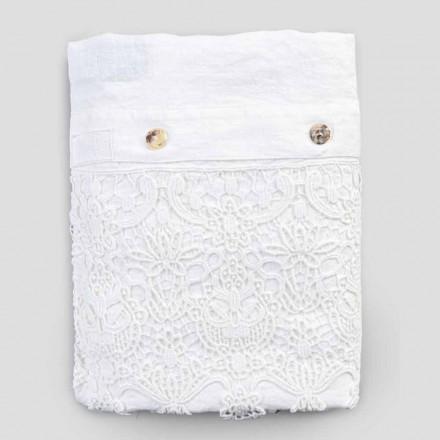 Funda nórdica doble de lino con saco contenedor de gotas de encaje - Amadeus
