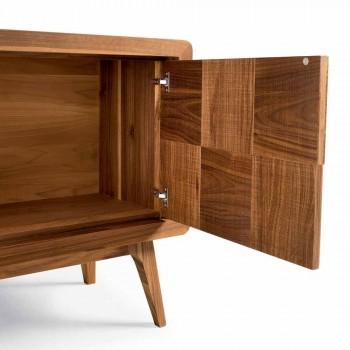 Aparador Nensi con 3 puertas en madera maciza de nogal de diseño moderno