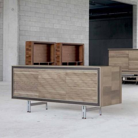 Aparador de diseño moderno en madera maciza, W192 x D 50 cm, Teresa