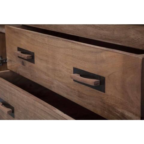 Aparador de diseño en madera de acacia y hierro con 2 puertas y 2 cajones - Dalya