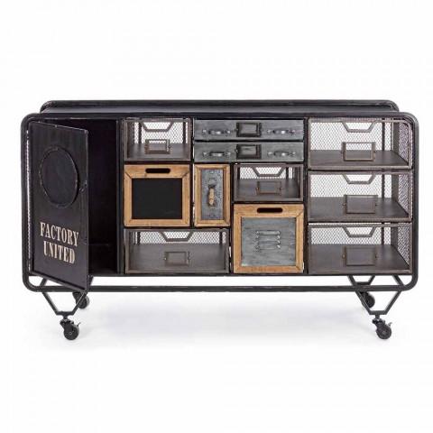 Aparador en acero con detalles en zinc y madera estilo industrial - India