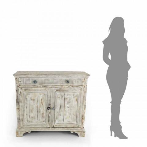 Aparador de madera maciza de abeto con estantes internos Made in Italy - Pierrot