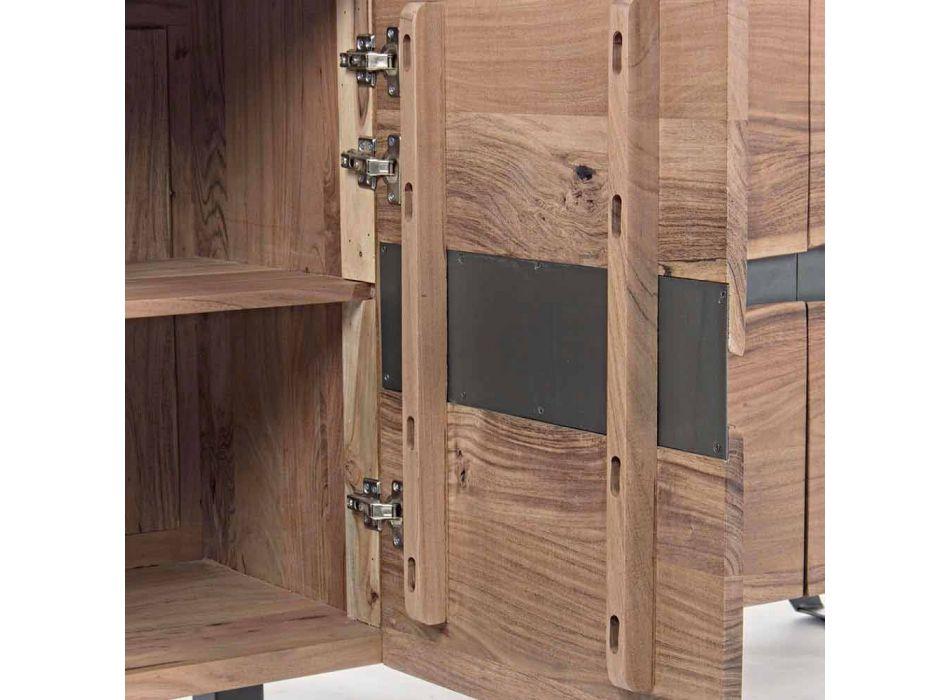 Aparador en Madera y Acero Pintado Diseño Moderno Homemotion - Silvia