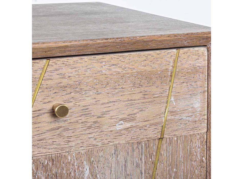 Aparador en madera de teca con inserciones de acero dorado estilo vintage - Mayra