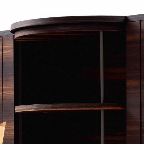 Grilli Zarafa moderno aparador de 3 puertas en madera de nogal y ébano