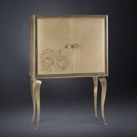 Aparador moderno con 2 puertas de madera maciza y la alegría de cuero anilina