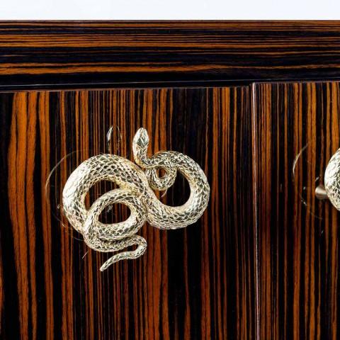 Aparador moderno con 4 puertas en ebony wood pulido Ada 2