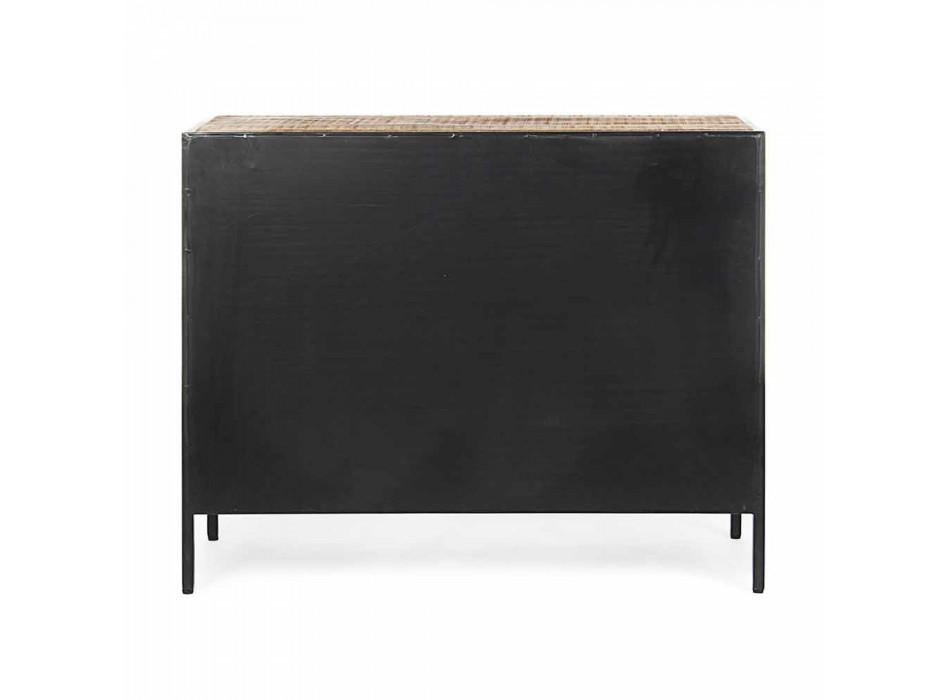 Aparador moderno con estructura en acero pintado y madera Homemotion - Borino