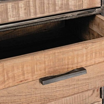 Aparador de estilo industrial en madera de acacia y acero Homemotion - Zompo