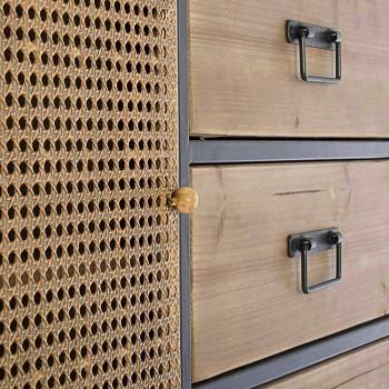 Aparador vintage con puertas de efecto ratán y cajones en madera de abeto - Freddy