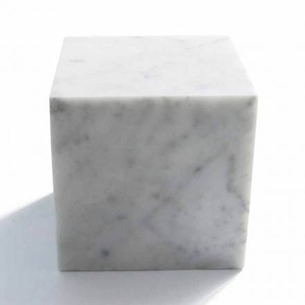 Pisapapeles de diseño de cubo en mármol blanco satinado de Carrara hecho en Italia - Qubo