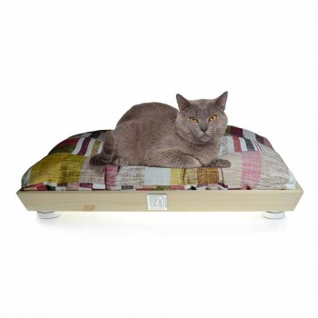 Caseta para perros y gatos en madera maciza con cojín lavable Made in Italy - Juma