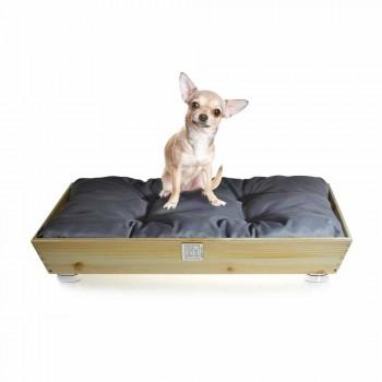Perrera para perros y gatos en madera maciza con asas y cojín Made in Italy - Lyn