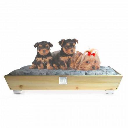 Caseta para perros y gatos en madera maciza con asas y cojín Made in Italy - Lyn