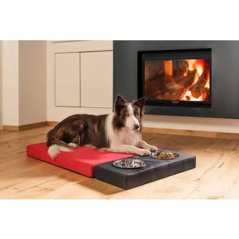 Caseta para perros de interior con funda extraíble con cuencos Made in Italy - Cuencos