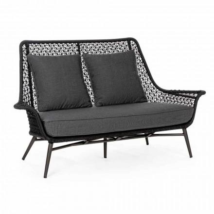 Sofá de 2 plazas de diseño para exteriores en aluminio y tela Homemotion - Nigerio