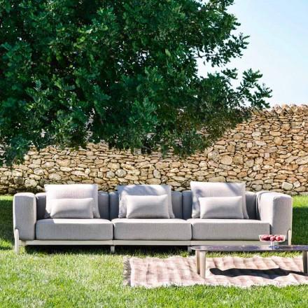 Sofá de exterior de 3 plazas en aluminio y tejido de alta calidad - Filomena