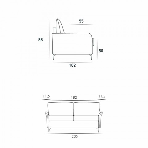 3 plazas maxi L205 cm moderna de cuero de diseño de imitación / tela de Erica
