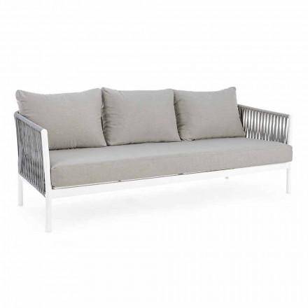 Homemotion - Sofá de exterior Rubio de diseño 3 plazas en blanco y gris