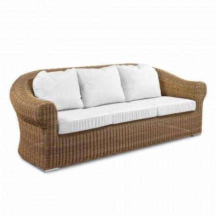 Sofá de 3 plazas para exterior en ratán sintético y tejido blanco o crudo - Yves