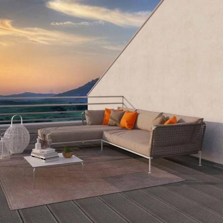 Sofá esquinero para exterior de diseño moderno en tela gris paloma o blanca - Ontario3