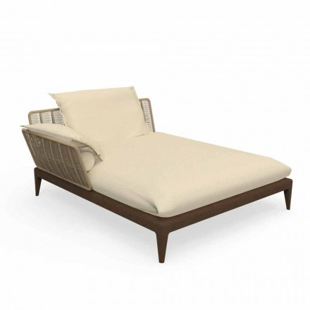 Sofá chaise longue para exterior en teca y tela - Cruise Teak by Talenti