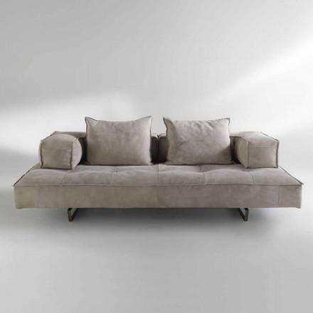Sofá de diseño moderno Cardo, tapicería de cuero