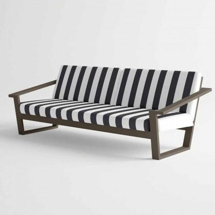 Sofá para exteriores de 2 o 3 plazas en diseño moderno de aluminio y tela - Louisiana