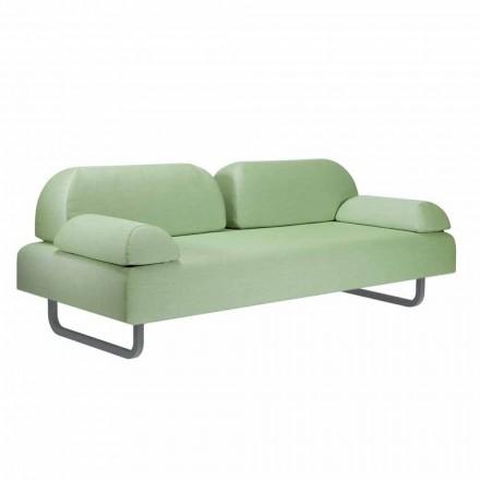 Sofá de diseño de 3 plazas en metal y tela Made in Italy - Selia
