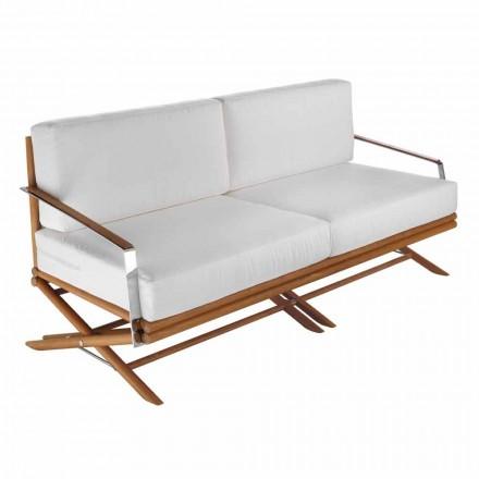 Sofá de exterior de 3 plazas en madera natural o tela negra y lujosa - Suzana