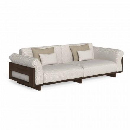 Sofá de exterior tapizado en tela y madera preciosa Accoya - Argo by Talenti