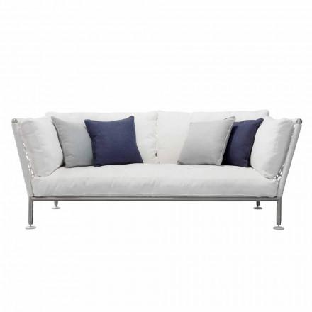 Sofá de exterior en acero y cojines de tela de PVC tejida - Ontario6