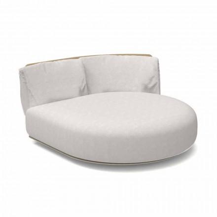 Sofá de exterior modular redondo izquierdo de aluminio y tela - Scacco Talenti