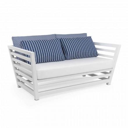 Sofá de jardín de 2 plazas en aluminio de diseño blanco o negro - Cynthia