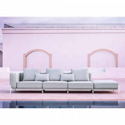 Sofá de jardín de 3 plazas con puf de lujo en aluminio y tela - Filomena