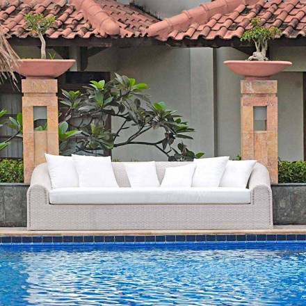 Sofá de jardín grande trenzado hecho a mano modelo Cooper