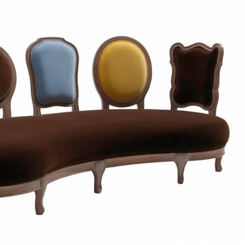 Sofá de diseño de lujo, 5 respaldos de madera maciza, fabricado en Italia, Manno
